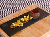 Flan chocolate fruta fresca