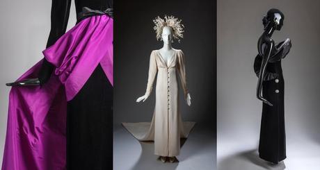 Vestido de terciopelo negro con sobrefalda drapeada en violeta, hecho en 1990 para la Marquesa de Llanzol (izquierda). Vestido de novia de crepé con botonadura de perlas, de 1984 (centro). Vestido de noche de terciopelo negro con gran volante en el escote, de 1987 (derecha).