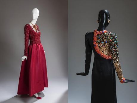 Vestido color cereza, con cuerpo bordado en rubí y flecos (izquierda). Vestido de noche en satén negro con cuerpo bordado con pailletes de colores, del invierno de 1991 (derecha).