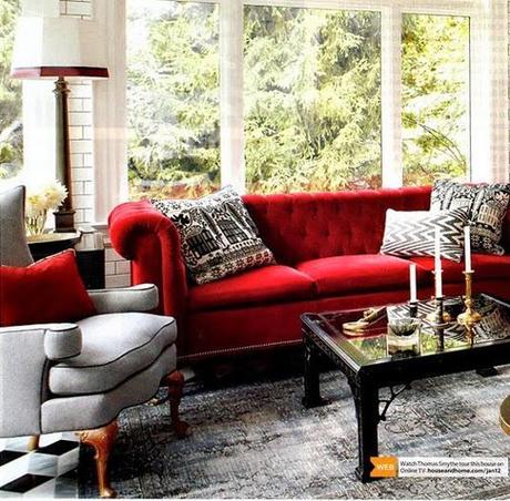 Ideas deco c mo decorar el sal n con un sof rojo paperblog - Salon con sofa rojo ...