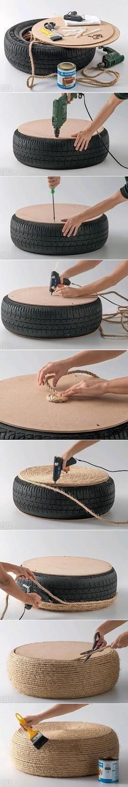 puff diy hecho con un neumático