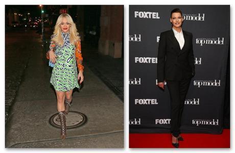 Rita Ora, de Miu Miu Crucero 2015, y Linda Evangelista (que tanto ha dado que hablar esta semana por su aumento de peso), de esmoquin de Dolce&Gabbana.