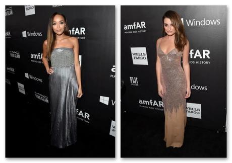Muchos de los mejores looks de la semana se han visto en la gala amFAR. A la derecha, Ashley Madekwe de Armani y a la derecha Lea Michele, de Versace (Getty Images).