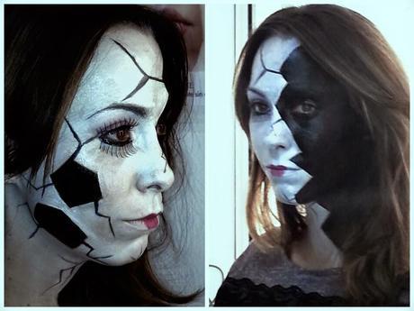 maquillaje de halloween mueca de porcelana rota
