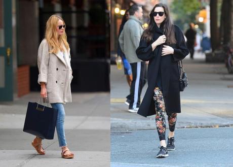 Kate Bosworth lleva su abrigo básico en crudo con bolso de Balenciaga, y Liv Tyler opta por un básico de Max Mara sobre un look sporty.