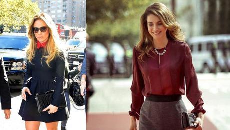 Y acabamos con dos looks de street style. De nuevo Valentino Jennifer Lopez con vestido de crepe de la colección de otoño-invierno de Valentino. Y la reina Rania de Jordania, vestida por Lanvin, a su lleva a la apertura del periodo de sesiones del Parlamento.