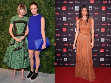 Anna Wintour, editora del Vogue USA, con Stella McCartney, que lleva un diseño propio en la cena CFDA/Vogue. A la derecha, la modelo Elisa Sednaoui, con vestido de ante troquelado de Alberta Ferretti.