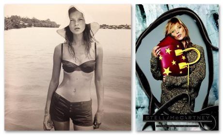 Veintitres años separan estas imágenes. A la derecha, Kate Moss fotografiada para The Face por Corinne Day. A la derecha, en la campaña FW 14 de Stella McCartney.