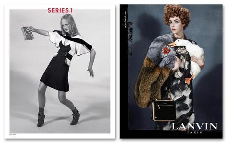 Jean Campbell en Louis Vuitton FW14 y Edie Campbell, en la campaña de Lanvin, fotografiada por Steven Meisel.