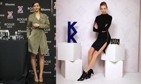 Rihanna, con un look de la colección SS15 de Jason Wu. A la derecha, Karlie Kloss, con LBD de Louis Vuitton.