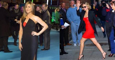 Jennifer Aniston, en la première de Horrible Bosses 2 en Londres con un look SS15 de Antonio Berardi. A la derecha, Jennifer Lawrence, también con un look SS15 de Antonio Berardi, a su llegada a The Late Show de David Letterman en Nueva York.