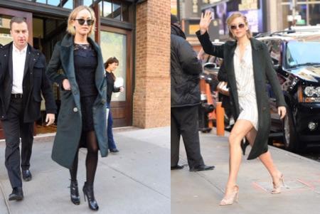 Dos looks de calle de Jennifer Lawrence con abrigo de Burberry. A la izquierda, botines peep toes de Roger Vivier.