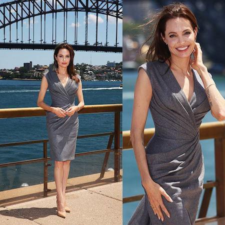 Angelina Jolie con vestido drapeado hecho a medida de Atelier Versace, en el photocall de Unbroken en Sydney.