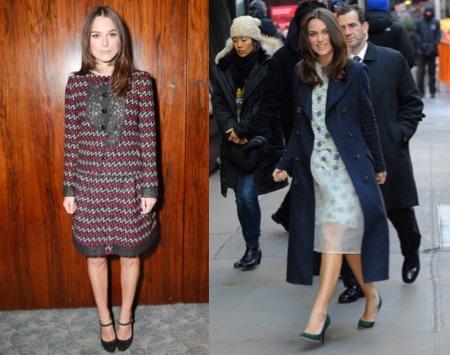 Dos looks de Keira Knightley. A la izquierda, con chaqueta y una falda de tweed rojo, negro y blanco, de la colección Primavera Verano Acto 1 2015 de Chanel. A la derecha, con vestido de Michael van der Ham, zapatos de Jimmy Choo y abrigo de Burberry en Nueva York.