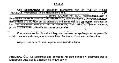 Nueva victoria judicial de nuestros abogados colaboradores for Clausula suelo caixabank