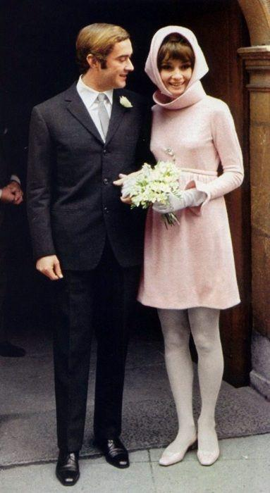 Dr. Andrea Dotti with Audrey Hepburn at their wedding at the townhall in Morges (Switzerland), on January 18, 1969