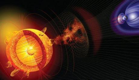 Ilustración 7. El campo magnético terrestre es consecuencia de la dinámica interior de la Tierra. Imagen tomada de Planet Facts