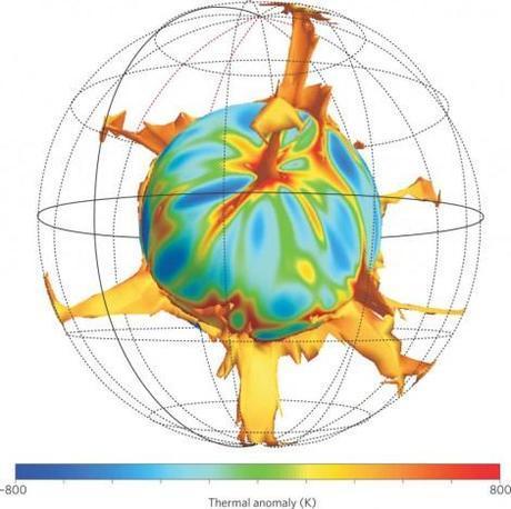Ilustración 1. Modelo numérico de plumas de manto ascendiendo desde el límite núcleo-manto. Imagen tomada de la Nature Geoscience.