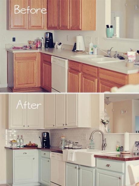 Antes y despu s una cocina de madera totalmente renovada for Pintar muebles de cocina antes y despues