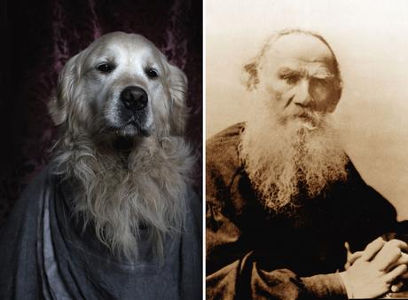 Leo Tolstoi y su doble y barbudo perro