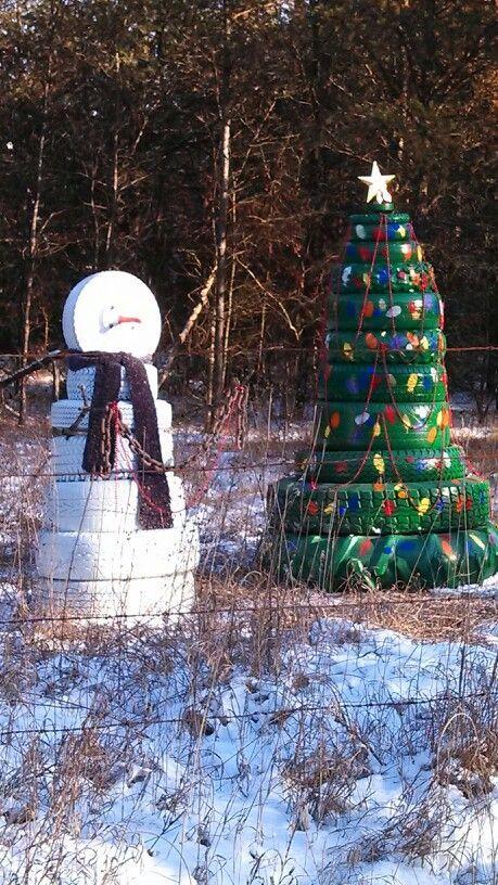 diy rbol de navidad y mueco de nieve reciclando neumticos
