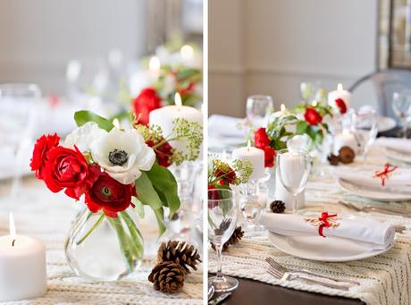 Una luminosa mesa para navidad con flores y pi as paperblog for Decoracion luminosa navidena
