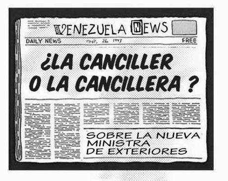 Front page cómic - cancillera Delcy Rodríguez