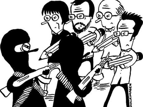 Con caricaturas y mensajes rinden homenaje a Charile Hebdo