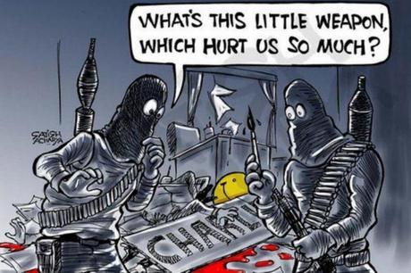 Con caricaturas y mensajes rinden homenaje a 'Charlie Hebdo
