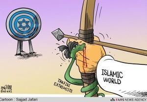 El takfirismo es el mayor enemigo del propio islam.  Fuente: Sajjad Jafari en Fars News Agency.