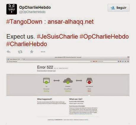 Anonymous lanza primer ataque en protesta al atentado de 'Charlie Hebdo'