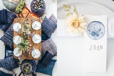 Tablescape blue moon collage
