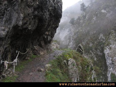 Ruta Xanas, Valdolayés, Peña Rey: Pasamanos de cuerda