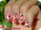 Nail Strawberry with Milk Water Marble