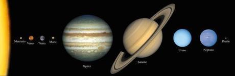Comparación del tamaño de los planetas del Sistema Solar. La distancia no está a escala. Crédito: Lunar and Planetary Institute.