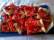 Coca pimiento rojo asado cebolla morada