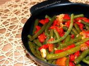 Judías verdes pimiento rojo asado