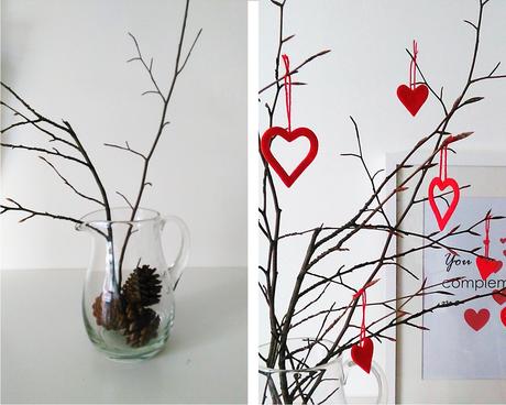 Ramas secas decoradas para un san valentin lowcost paperblog - Ramas decoradas ...