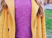 OUTFIT: Jersey burdeos abrigo mostaza