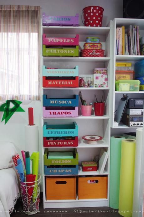 Reciclar cajas de fruta para ordenar, jugar y decorar