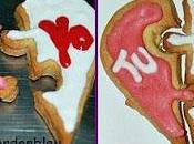 Galletas mantequilla decoradas glasa real. valentín. enamorados.