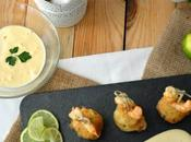 Croquetas patata bacalao salsa alli-oli langostinos