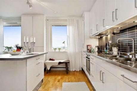 Cocinas blancas grandes peque as en l o en u modernas y cl sicas paperblog - Cocinas pequenas blancas ...