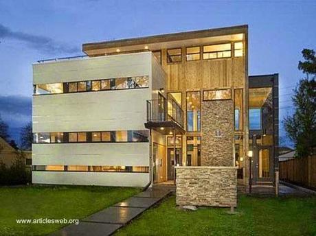 32 im genes de fachadas de casas modernas paperblog for Casas modernas revestidas en piedra