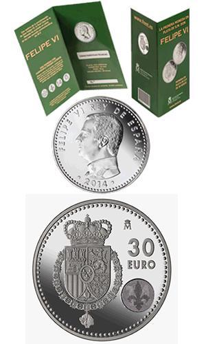 MONEDA DE 30€ EN PLATA DE LEY DE FELIPE VI