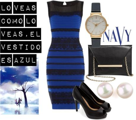 Vestido azul con dorado movie