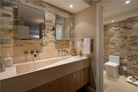 Si deseas un estilo rustico para tu baño y usar piedra como elemento ...