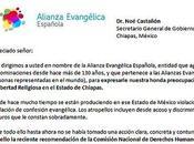 Alianza Evangélica escribe Gobierno Chiapas apoyo evangélicos
