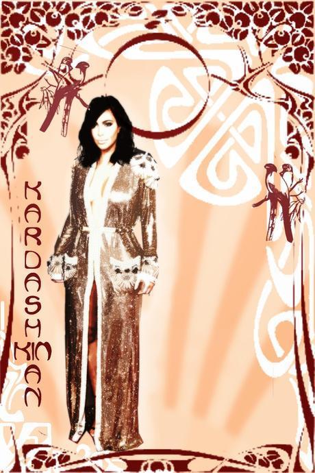 celebs en la alfombra roja kim kardashian, poster art nouveau