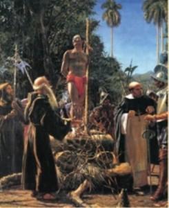 Hatuey es quemado por los españoles.